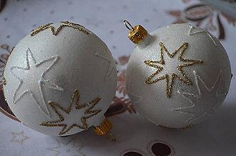 Dekorácie - Biele guličky s hviezdičkami - 7463594_