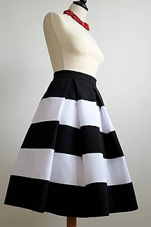 Sukne - čierno-biela sukňa - 7466616_