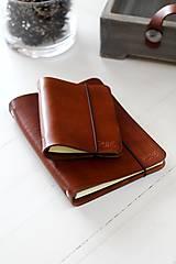 Papiernictvo - Kožený zápisník / karisblok A6 (BROWN) - 7467799_