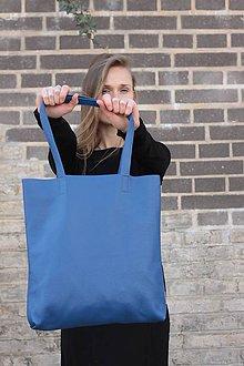 Kabelky - Velká kožená taška, královsky modrá - 7467598_