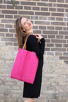 Kabelky - Velká plstená taška z přírodní plsti, pink - 7467930_