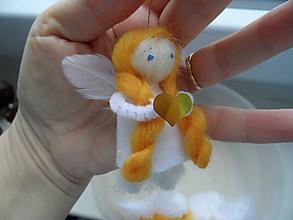 Dekorácie - anjelik bielozlatý - 7464226_