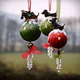 Dekorácie - Jazvečík - vianočná guľa - 7465221_