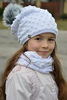 Čiapky - zimná súprava s odopínacím brmbolcom white & white...alebo farbu si vyber! - 7468214_