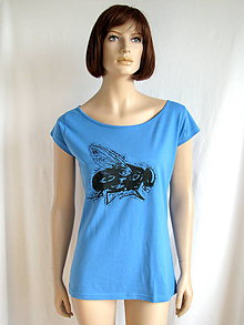 Tričká - Modré tričko s muchou - 7465678_