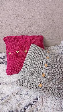 Úžitkový textil - Pletený vankúš - poduška - 7467467_