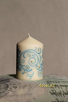 Svietidlá a sviečky - Sviečka :-) modrý vánok - 7474311_