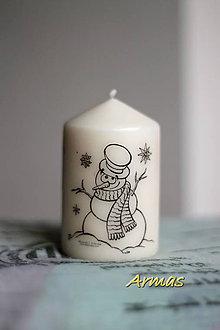 Svietidlá a sviečky - Sviečka :-) snehuliačik - 7474320_