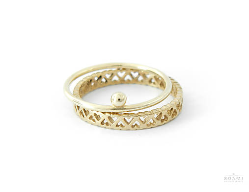Prstene - 585/14k zlatý komplet prsteňov - 7472978_