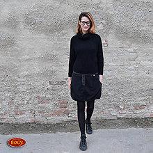 Sukne - teplá flísová sukně do gumy, na zimu černá - 42 - 7474292_