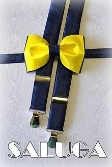 Doplnky - Žlto modrý pánsky motýlik + traky set - žltý s modrým - 7470104_
