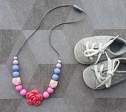 """Náhrdelníky - Silikónový dojčenský náhrdelník """"Barbie s kvetinkou"""" - 7473859_"""