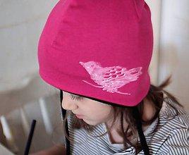 Detské čiapky - Detská zimná čiapka s vtáčikom - 7469269_
