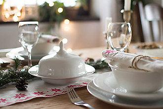 Úžitkový textil - Vianočná štóla + obrúsky - ľanové plátno - ručná potlač - 7468510_