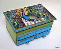 Krabičky - Šperkovnica páv - 7469530_