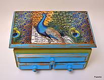 Krabičky - Šperkovnica páv - 7469531_