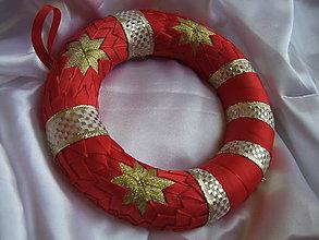 Dekorácie - Vianočný venček - zlatočervený - 7472107_