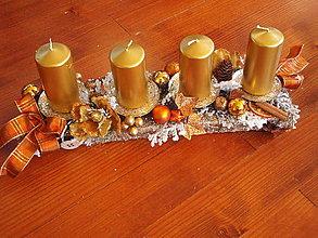Dekorácie - Zlato - medený adventný svietnik - 7469140_
