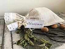 Úžitkový textil - Ľanové vrecúško OD STAREJ MAMY 30x45 - 7470535_