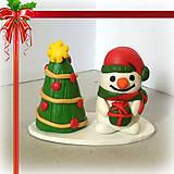Socha - Zlato červený vianočný stromček - 7472064_