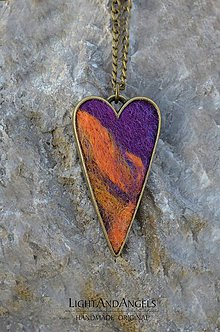 "Náhrdelníky - Arttexový prívesok ""Srdce oranžovo-fialové"" - 7479450_"