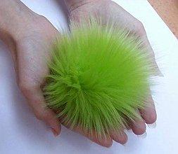 Materiál ručne robený - Kožušinový brmbolec zelený - 7477510_
