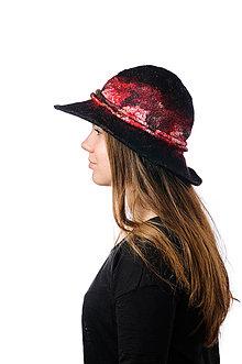 cc1eed66d Čiapky - Čierny vlnený klobúk, široký okraj, ručne plstený z merino vlny,  nunoplstenie