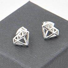 Náušnice - Postriebrené náušnice - Diamonds - 7477425_