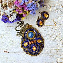 Sady šperkov - Blue Ocher - vyšívaná sada - 7477037_
