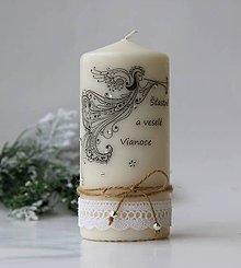 Svietidlá a sviečky - Dekoračná sviečka vianočná II. - 7476675_