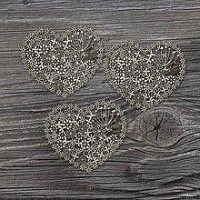 Polotovary - Lepenkový výrez - lacy heart 3ks - 7478368_
