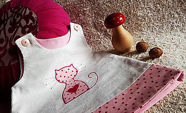 Šaty - menčestrové šatičky - mačička - 7478391_