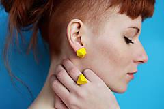 Prstene - Geometrický nastaviteľný prsteň | minimal arch | yellow - 7484130_