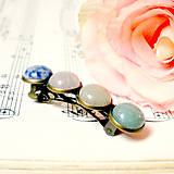 - Harmony of Gemstones French Hair Clip / Vintage francúzska s - 7479868_