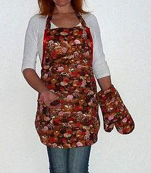 Iné oblečenie - Zásterka čokoládová s rukavicou - 7484972_
