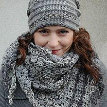 Čiapky - Set šedý, čepice + trojcípý šátek - 7481186_