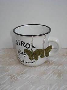 Náušnice - Náušničky trblietavé motýliky - 7482000_