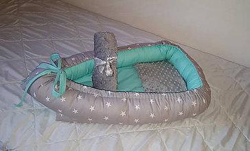 Textil - Hniezdo pre bábätko,obojstranné( mint v kombinácii so sivou) - 7483699_