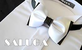 Doplnky - Bielo čierny pánsky motýlik - 7481809_