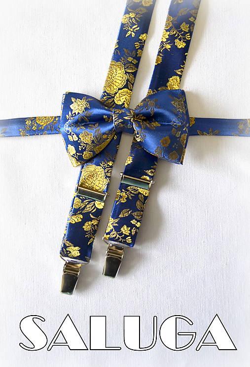 8a551d184 Modrý pánsky motýlik a traky so zlatým - vzorovaný - modrozlatý ...
