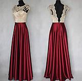 Šaty - Spoločenské šaty s holých chrbátom a saténovou sukňou rôzne farby - 7481066_