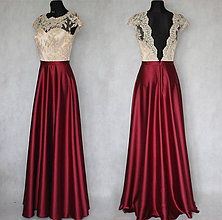 904eedce1cfd Šaty - Spoločenské šaty s holých chrbátom a saténovou sukňou rôzne farby -  7481066