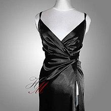 Šaty - Šaty saténové s odhaleným chrbátom - 7483915_