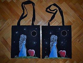 Nákupné tašky - maľovaná taška - dievča a srdce - 7481524_