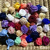 Materiál ručne robený - Textilné ružičky bez stonky - 7481835_