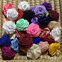 Materiál ručne robený - Veľké textilné ružičky bez stonky - 7481904_