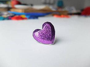 Prstene - Živicový prsteň srdce fialové - 7486150_