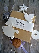 Dekorácie - Ozdoby vianočné biele mix - sada Cinderella - 7486431_