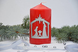 Svietidlá a sviečky - Betlehemská sviečka červená so strieborným zdobením - 7489428_