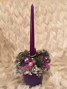 Svietidlá a sviečky - svietnik vianočný fialový - 7489459_
